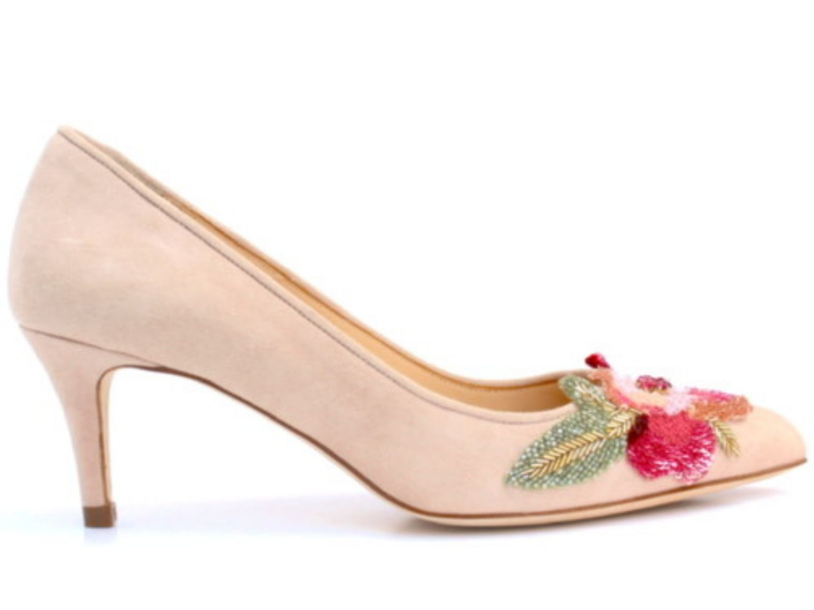Dianne Hassall wedding shoes with kitten heel and toe embellishment