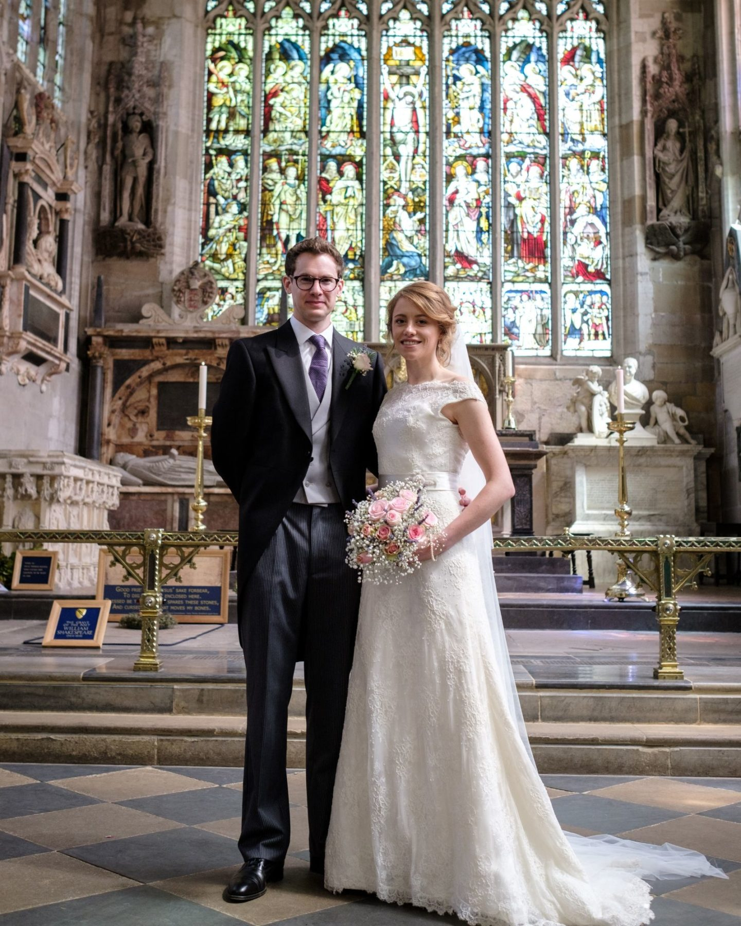 Married couple Harriet and Nick at traditional church wedding ceremony