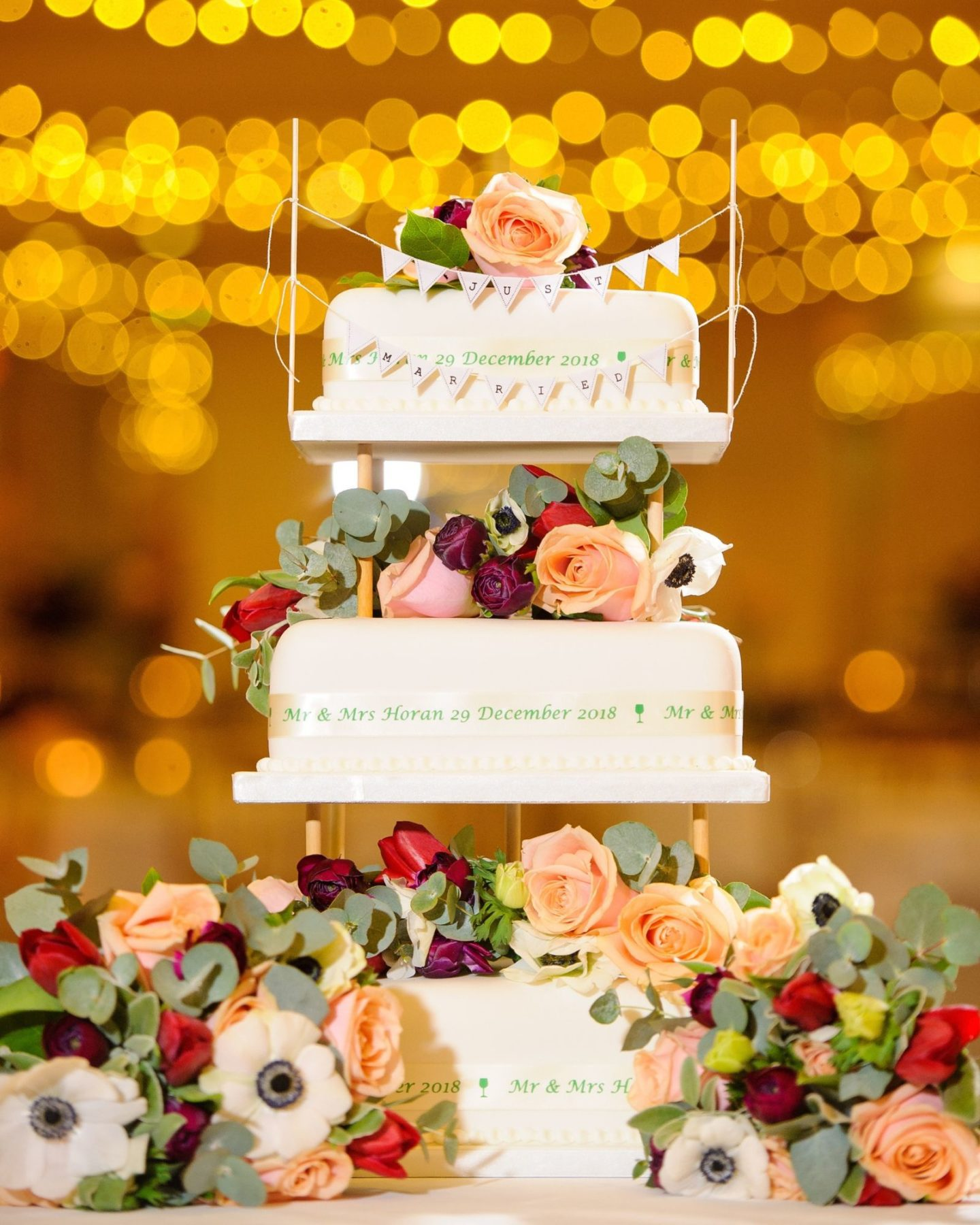 Traditional wedding cake for winter wedding