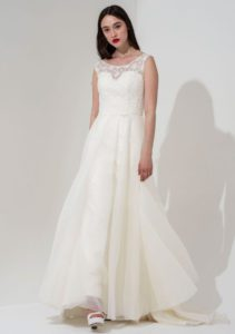 Structured, quality summer boho wedding dress with flutter sleeves and an open back in Stratford-Upon-Avon, UK