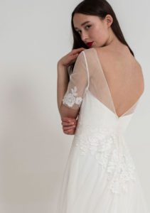 Elegant and boho wedding dress with flutter sleeves and an open back in Stratford-Upon-Avon, UK