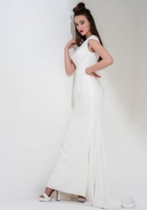 Elegant and structured wedding dress with feature back in Stratford-Upon-Avon, UK