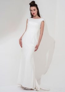 Elegant wedding dress with feature back in Stratford-Upon-Avon, UK