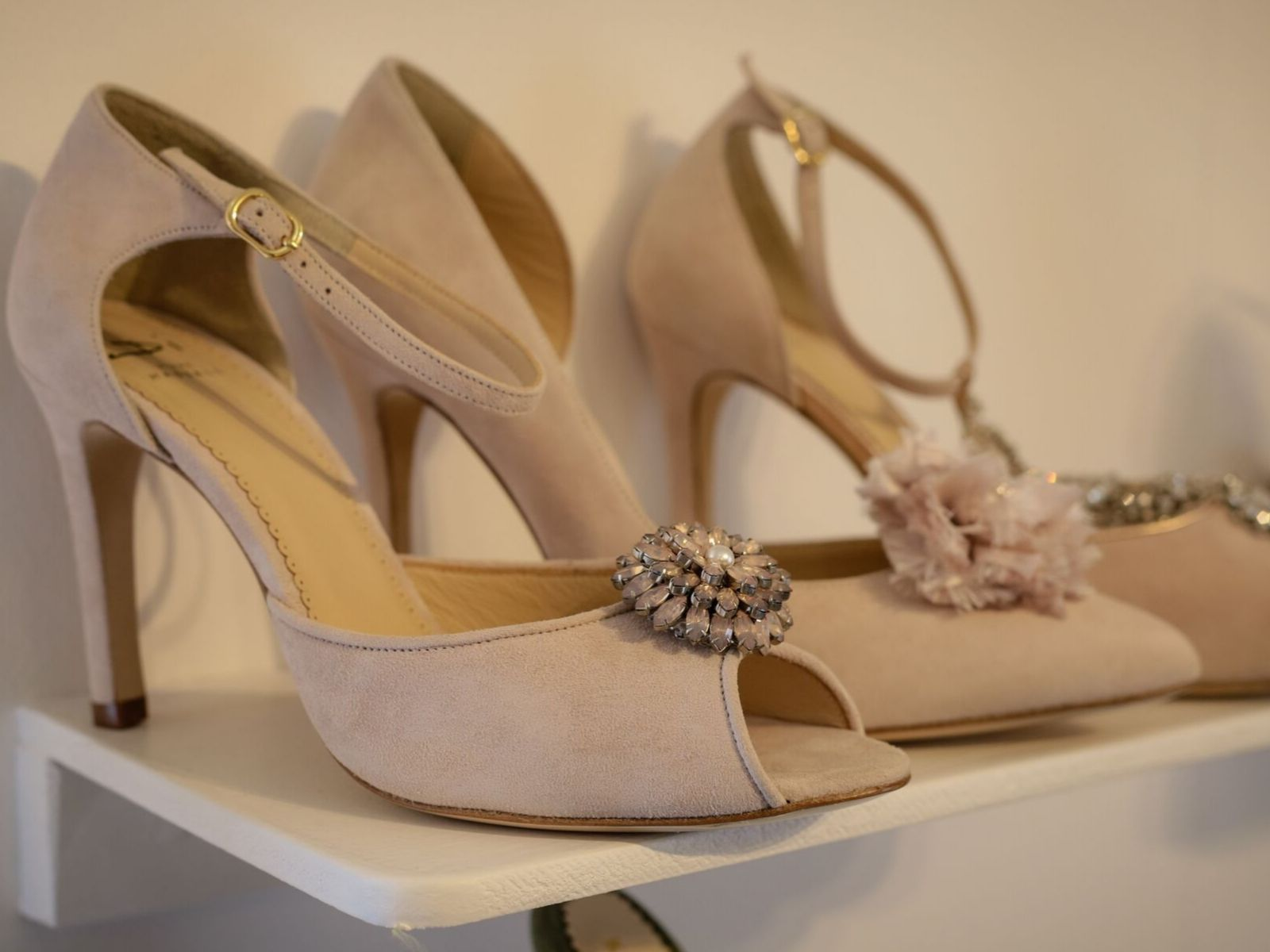 Di Hassall's nude wedding shoes at Boho Bride boutique