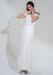 Bateau neckline Meghan Markle-style wedding dress in Stratford