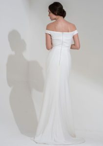 Designer wedding dress with bateau neckline Meghan Markle-style wedding dress in Stratford
