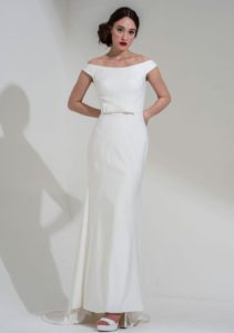 Designer wedding dress with bateau neckline Freda Bennett structured wedding dress Warwickshire