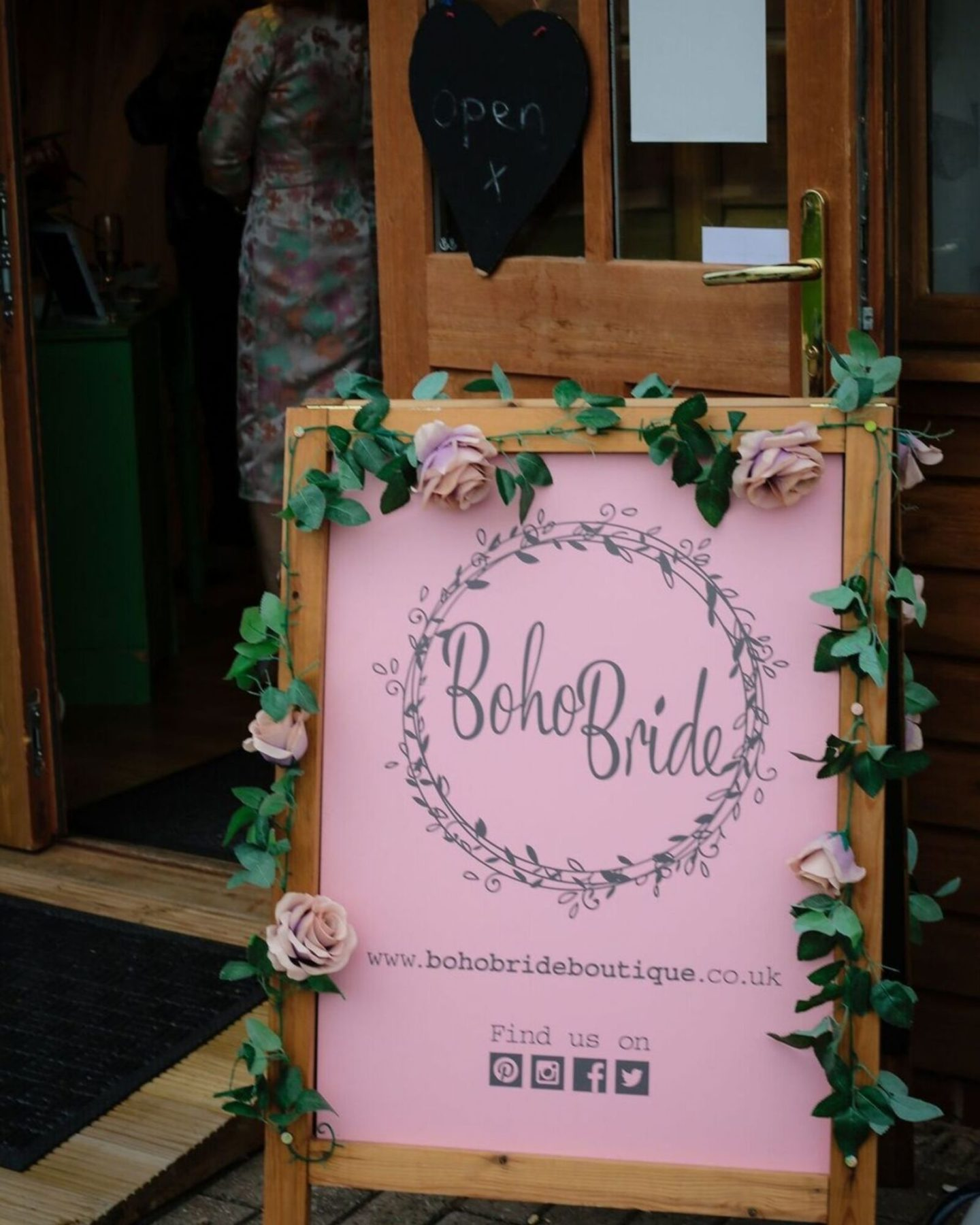 Boho Bride boutique sign out the front of the shop