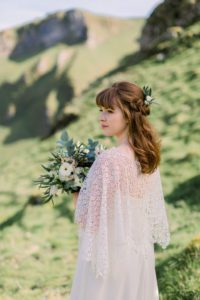 Bohemian lace bridal poncho from wedding dress shop in Warwickshire