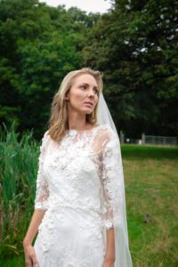 Boho style wedding dress at Stratford wedding dress shop