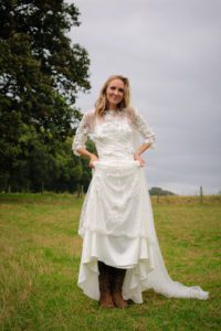 Festival wedding dress from Stratford bridal shop