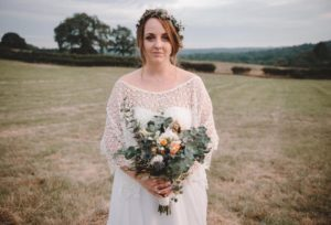 Boho style wedding dress at outdoor wedding in Stratford
