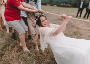 Bride at her outdoor boho wedding in UK