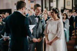 Warwickshire bride wearing a bespoke wedding dress made at Stratford Upon Avon bridal shop