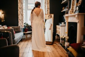 Lace wedding dress from Boho Bride, a bridal boutique in Stratford Upon Avon