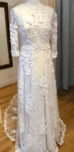 Designer sleeved wedding dress at Boho Bride bridal boutique in Warwickshire