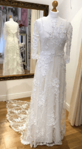 3D floral wedding dress with open back at Boho Bride boutique, Warwickshire wedding shop