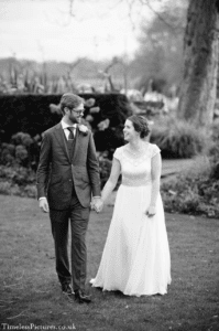 Real boho bride at her outdoor wedding in Stratford-Upon-Avon