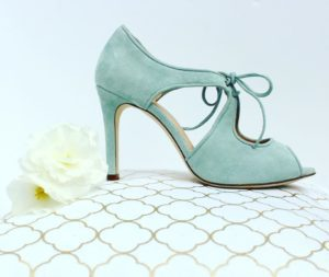 Teal high heeled shoes for mother of the bride/groom