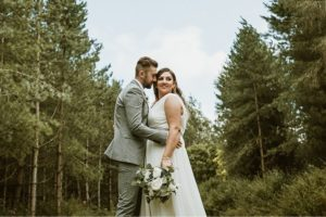 Aimee wearing a bespoke wedding dress from Boho Bride Stratford Upon Avon