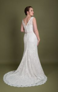 Lace bridal dress at Stratford-Upon-Avon wedding dress shop Boho Bride boutique Stratford