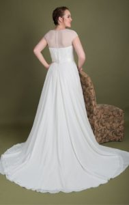 Back of plus size wedding dresses at Boho Bride boutique Stratford
