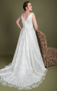Plus size designer satin bridal gown by Millie Grace