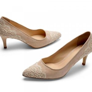 Nude shoes by designer Di Hassall for mother of the bride