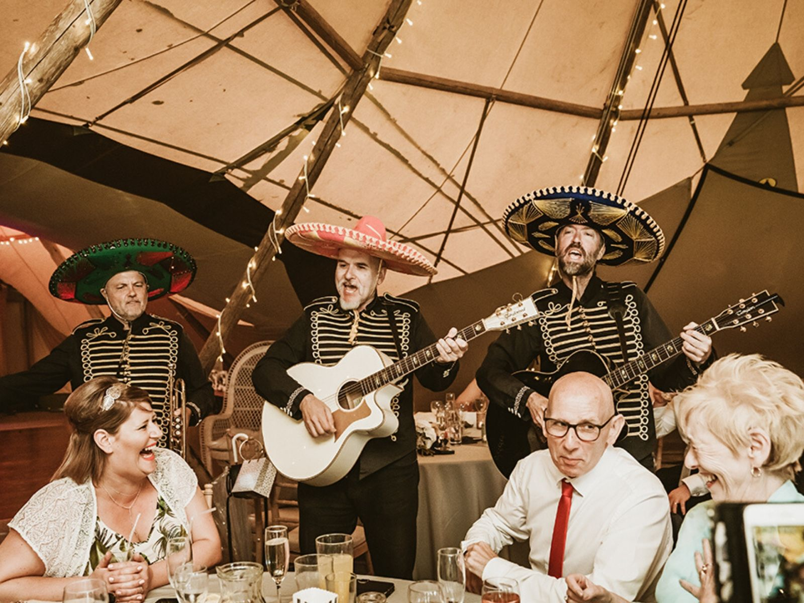 Mariachi band at tipi wedding in Derbyshire
