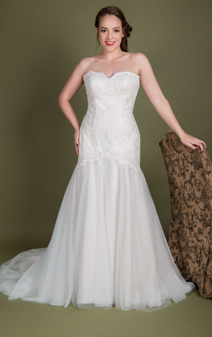 Plus size lace designer Millie Grace wedding dresses in Stratford UK