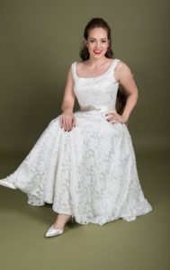 Tea length designer plus size wedding dress Stratford-Upon-Avon