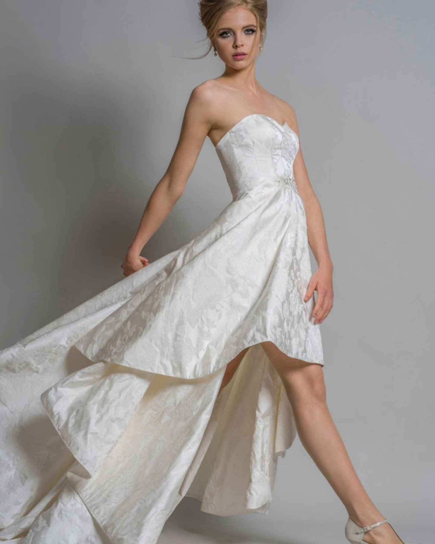 Glamorous wedding dress by Louise Bentley, available at Boho Bride