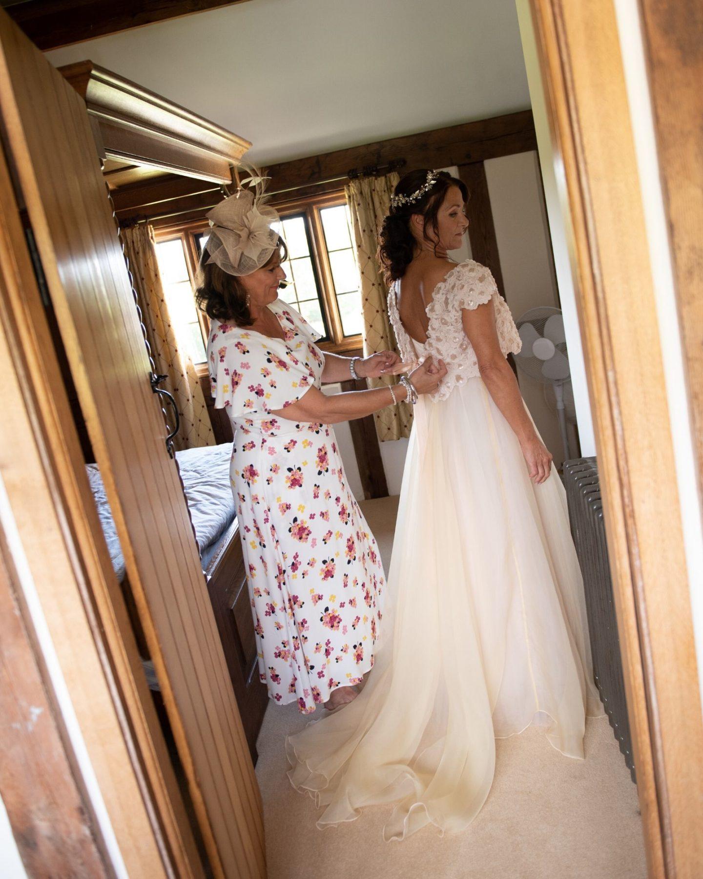 Bespoke wedding dress with lace bolero from Boho Bride
