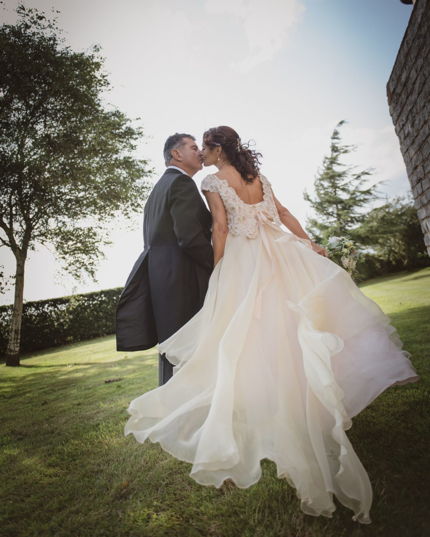 Flowy unique wedding dress from Stratford wedding dress shop