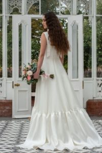 Alternative layered satin Freda Bennet wedding dresses in Stratford-Upon-Avon