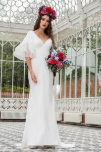 Alternative vintage Freda Bennet wedding dress with flutter sleeves in Stratford-Upon-Avon