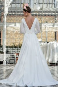 Alternative vintage Freda Bennet wedding dress with v back in Stratford-Upon-Avon