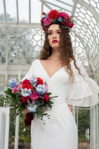Alternative vintage Freda Bennet wedding dress with v-neckline in-Stratford-Upon-Avon
