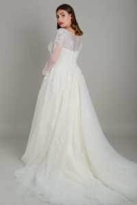 Flattering Lois Wild wedding dress in Stratford-Upon-Avon