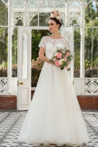 Freda Bennet bridal gown with V-neckline at Stratford-Upon-Avon wedding dress shop