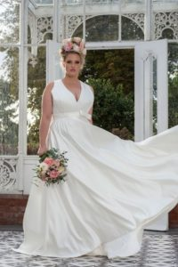 Freda Bennet wedding dress for curvy bride at Stratford-Upon-Avon wedding dress shop