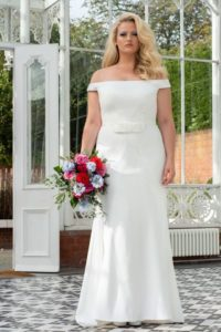 Freda Bennet wedding dress with bardot neckline in Stratford-Upon-Avon