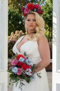 Plus-size Freda Bennet wedding dress for curvy bride at Stratford-Upon-Avon boutique