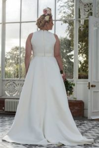 Plus-size Freda Bennet wedding dress for curvy bride at Stratford-Upon-Avon wedding dress sho
