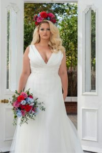 Plus-size Freda Bennet wedding dress with V neckline at Stratford-Upon-Avon wedding dress shop