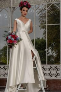 Satin wedding dress by Freda Bennet in Stratford-Upon-Avon