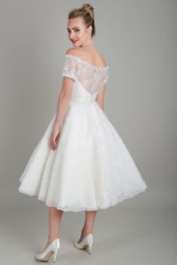 Short lace wedding dress by Lois Wild
