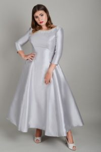 Sleeved grey satin Lois Wild-wedding dress in Stratford-Upon-Avon