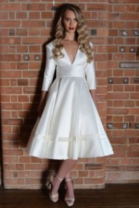Sleeved satin wedding dress by Lois Wild
