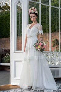Sleeved vintage Freda Bennet wedding dress for curvy bride in Stratford-Upon-Avon